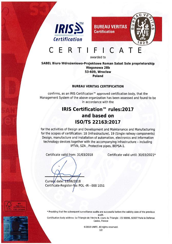 Certyfikat IRIS